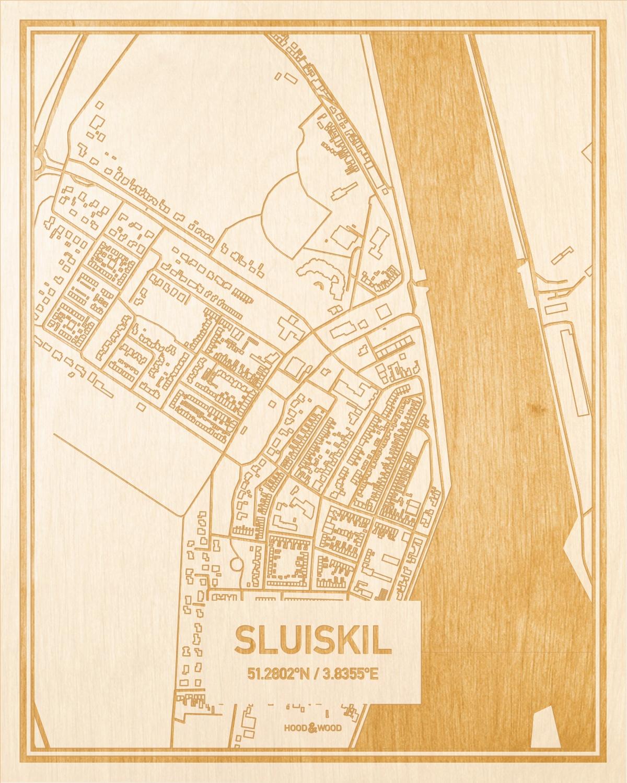 Het wegennet van de plattegrond Sluiskil gegraveerd in hout. Het resultaat is een prachtige houten kaart van een van de gezelligste plekken uit Zeeland voor aan je muur als decoratie.