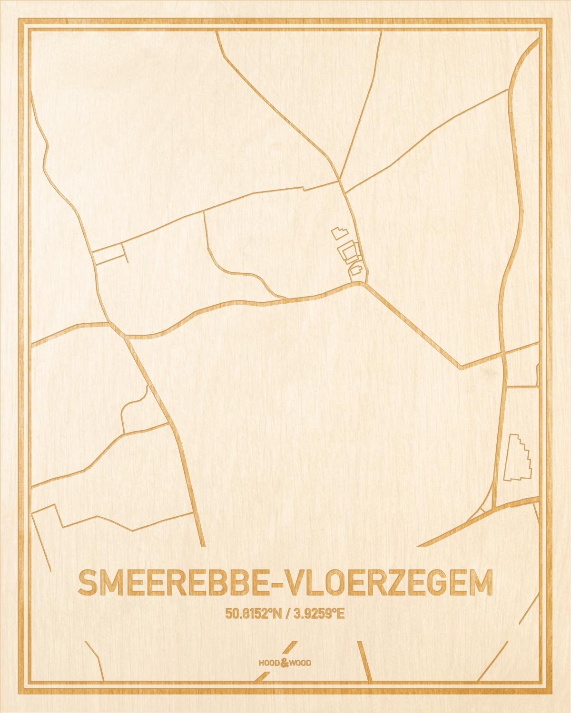 Het wegennet van de plattegrond Smeerebbe-Vloerzegem gegraveerd in hout. Het resultaat is een prachtige houten kaart van een van de beste plekken uit Oost-Vlaanderen  voor aan je muur als decoratie.