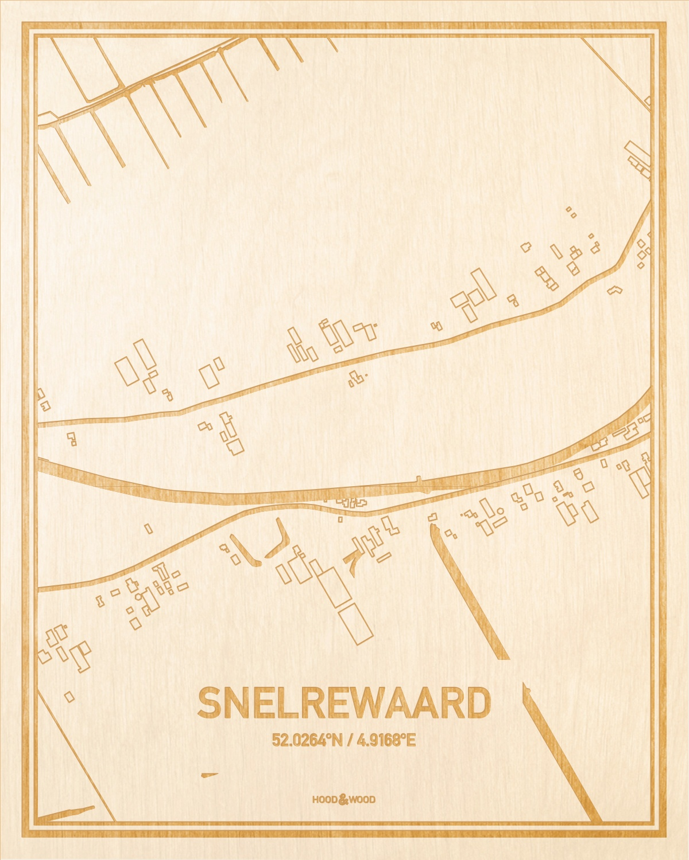 Het wegennet van de plattegrond Snelrewaard gegraveerd in hout. Het resultaat is een prachtige houten kaart van een van de mooiste plekken uit Utrecht voor aan je muur als decoratie.