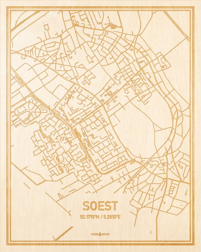 Het wegennet van de plattegrond Soest gegraveerd in hout. Het resultaat is een prachtige houten kaart van een van de charmantse plekken uit Utrecht voor aan je muur als decoratie.