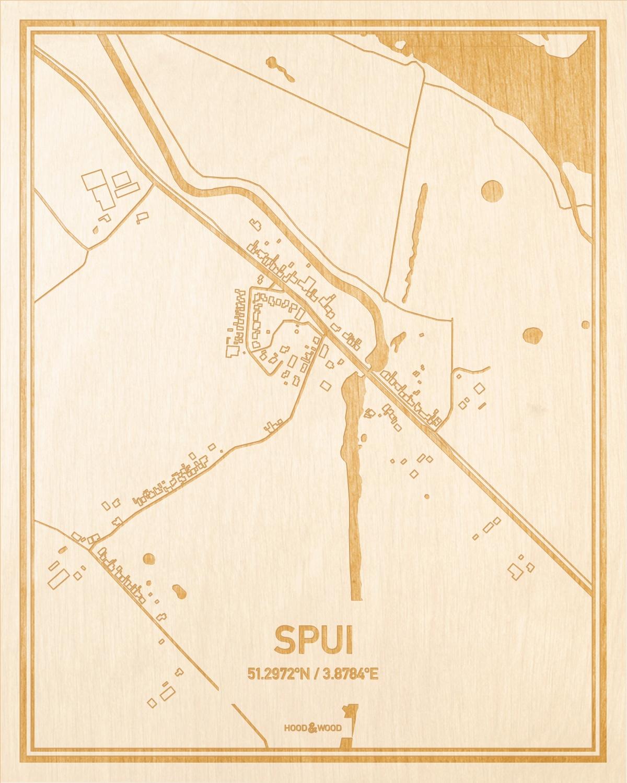 Het wegennet van de plattegrond Spui gegraveerd in hout. Het resultaat is een prachtige houten kaart van een van de gezelligste plekken uit Zeeland voor aan je muur als decoratie.