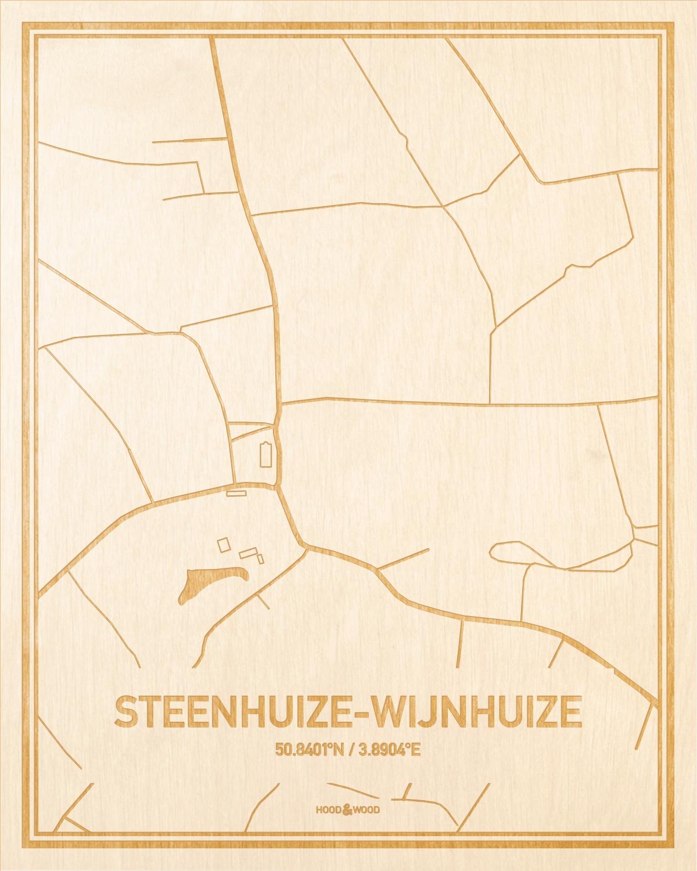 Het wegennet van de plattegrond Steenhuize-Wijnhuize gegraveerd in hout. Het resultaat is een prachtige houten kaart van een van de gezelligste plekken uit Oost-Vlaanderen  voor aan je muur als decoratie.