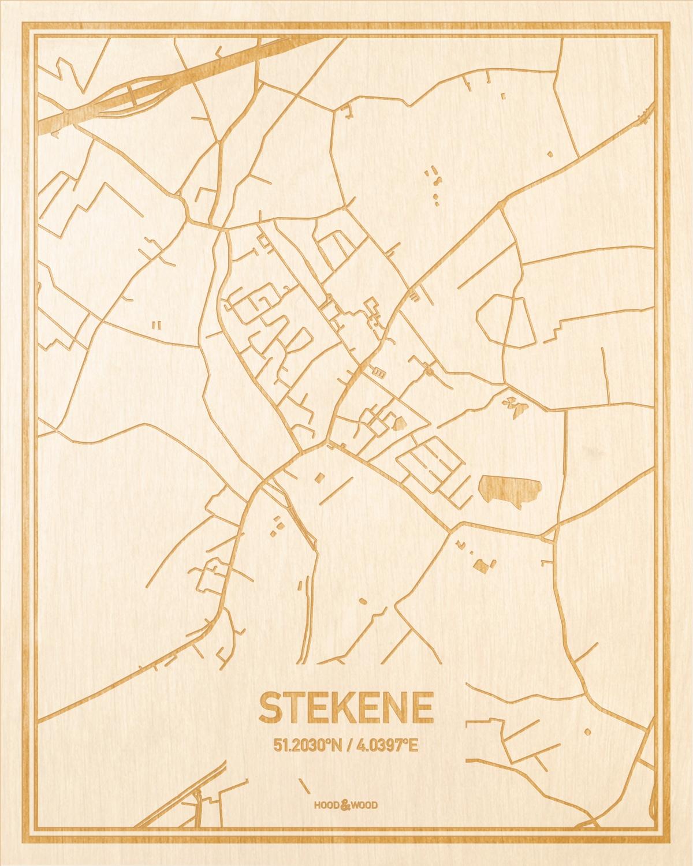 Het wegennet van de plattegrond Stekene gegraveerd in hout. Het resultaat is een prachtige houten kaart van een van de beste plekken uit Oost-Vlaanderen  voor aan je muur als decoratie.