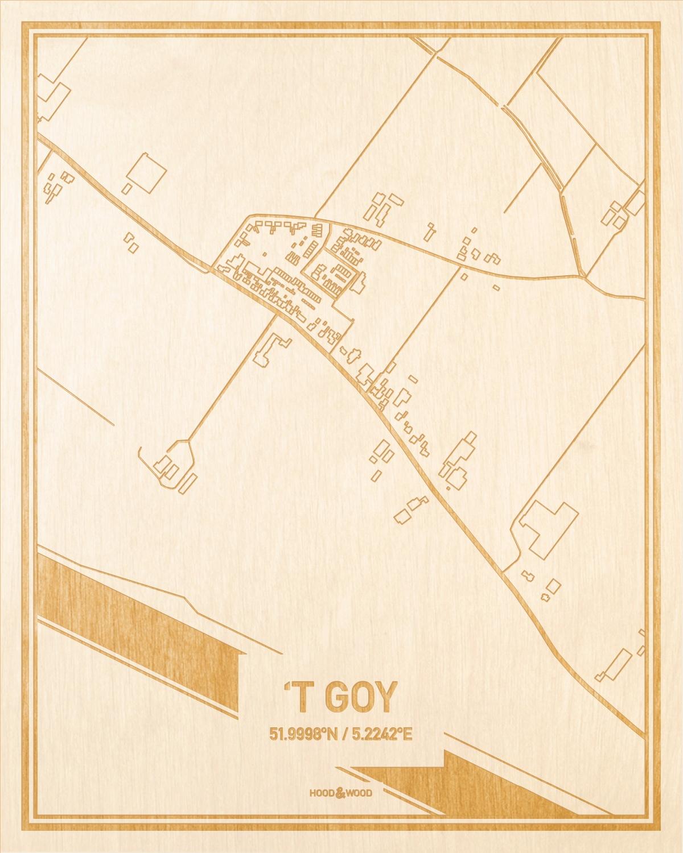 Het wegennet van de plattegrond 't Goy gegraveerd in hout. Het resultaat is een prachtige houten kaart van een van de beste plekken uit Utrecht voor aan je muur als decoratie.