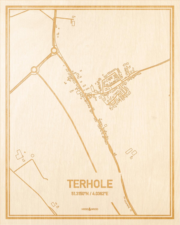Het wegennet van de plattegrond Terhole gegraveerd in hout. Het resultaat is een prachtige houten kaart van een van de leukste plekken uit Zeeland voor aan je muur als decoratie.