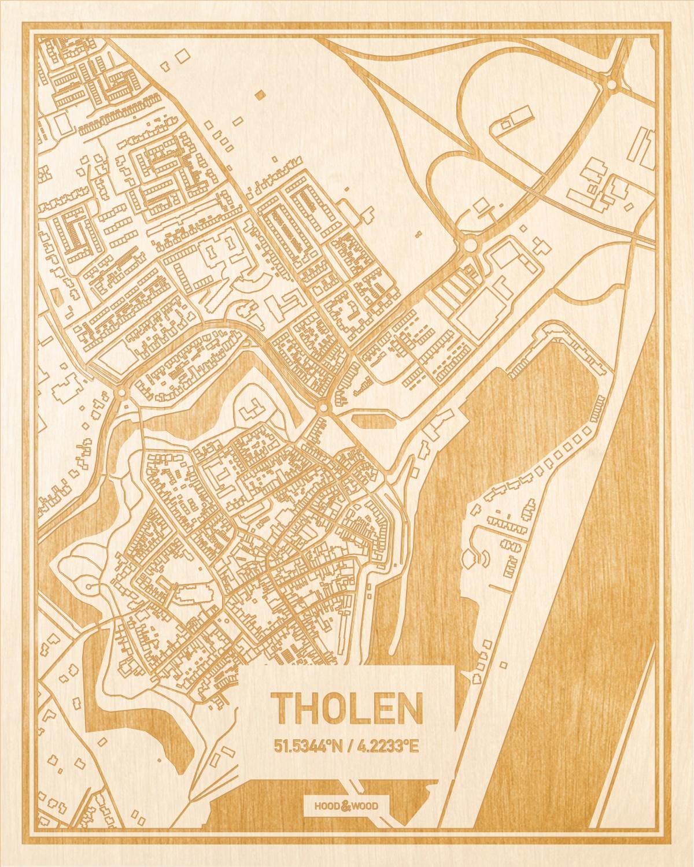 Het wegennet van de plattegrond Tholen gegraveerd in hout. Het resultaat is een prachtige houten kaart van een van de beste plekken uit Zeeland voor aan je muur als decoratie.