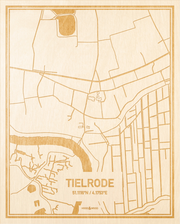Het wegennet van de plattegrond Tielrode gegraveerd in hout. Het resultaat is een prachtige houten kaart van een van de beste plekken uit Oost-Vlaanderen  voor aan je muur als decoratie.