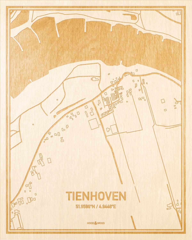 Het wegennet van de plattegrond Tienhoven gegraveerd in hout. Het resultaat is een prachtige houten kaart van een van de mooiste plekken uit Utrecht voor aan je muur als decoratie.