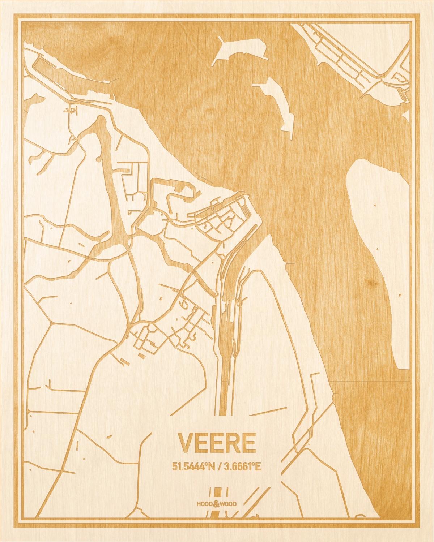 Het wegennet van de plattegrond Veere gegraveerd in hout. Het resultaat is een prachtige houten kaart van een van de leukste plekken uit Zeeland voor aan je muur als decoratie.