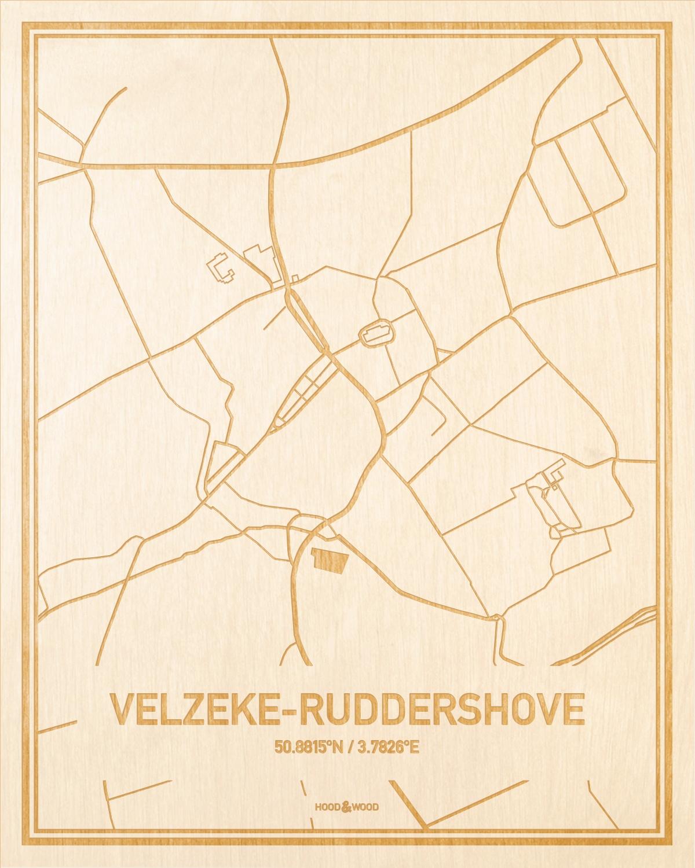 Het wegennet van de plattegrond Velzeke-Ruddershove gegraveerd in hout. Het resultaat is een prachtige houten kaart van een van de charmantse plekken uit Oost-Vlaanderen  voor aan je muur als decoratie.