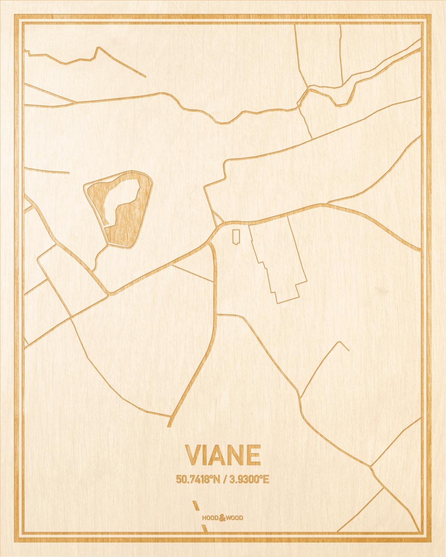 Het wegennet van de plattegrond Viane gegraveerd in hout. Het resultaat is een prachtige houten kaart van een van de mooiste plekken uit Oost-Vlaanderen  voor aan je muur als decoratie.