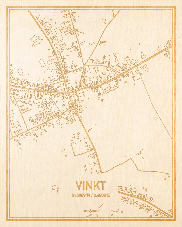 Het wegennet van de plattegrond Vinkt gegraveerd in hout. Het resultaat is een prachtige houten kaart van een van de beste plekken uit Oost-Vlaanderen  voor aan je muur als decoratie.