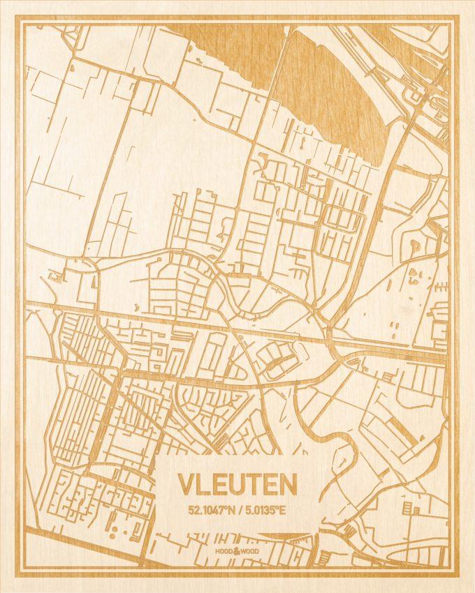Het wegennet van de plattegrond Vleuten gegraveerd in hout. Het resultaat is een prachtige houten kaart van een van de gezelligste plekken uit Utrecht voor aan je muur als decoratie.