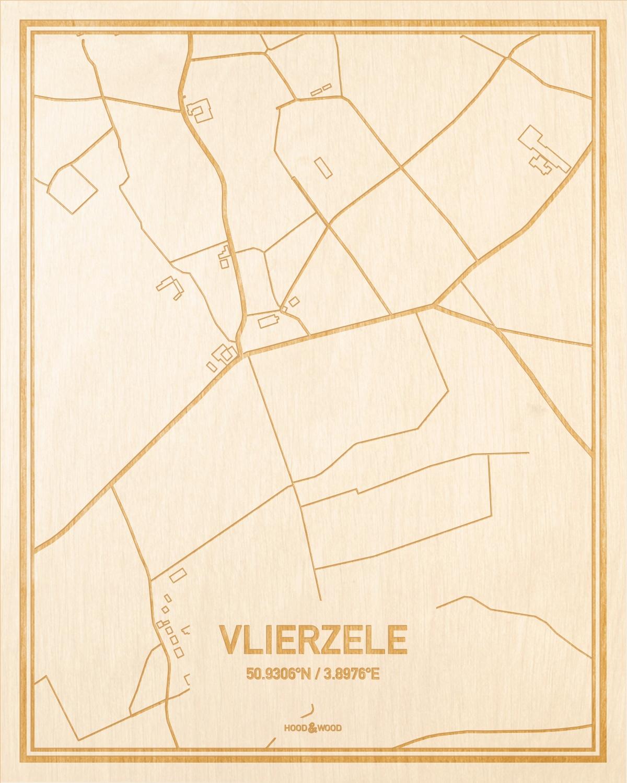 Het wegennet van de plattegrond Vlierzele gegraveerd in hout. Het resultaat is een prachtige houten kaart van een van de leukste plekken uit Oost-Vlaanderen  voor aan je muur als decoratie.