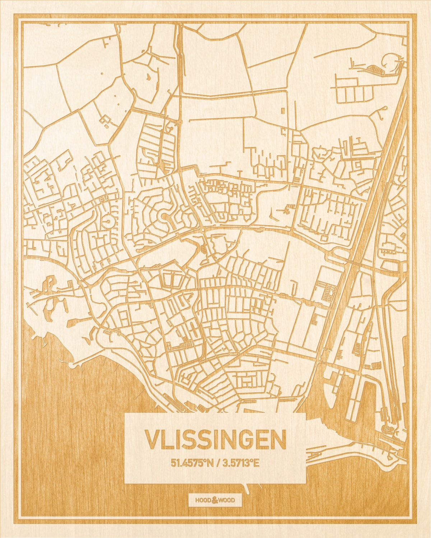 Het wegennet van de plattegrond Vlissingen gegraveerd in hout. Het resultaat is een prachtige houten kaart van een van de charmantse plekken uit Zeeland voor aan je muur als decoratie.
