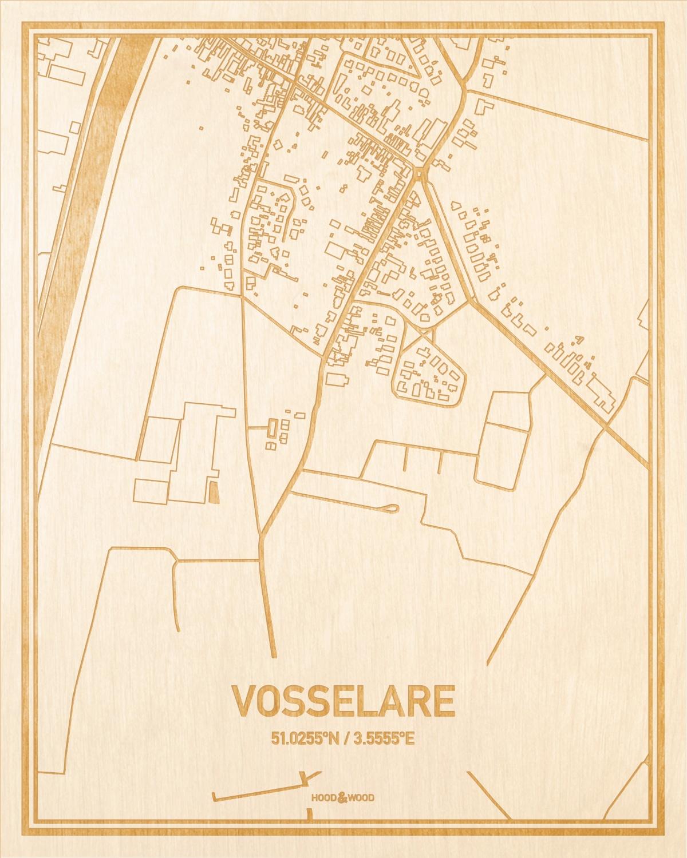 Het wegennet van de plattegrond Vosselare gegraveerd in hout. Het resultaat is een prachtige houten kaart van een van de beste plekken uit Oost-Vlaanderen  voor aan je muur als decoratie.