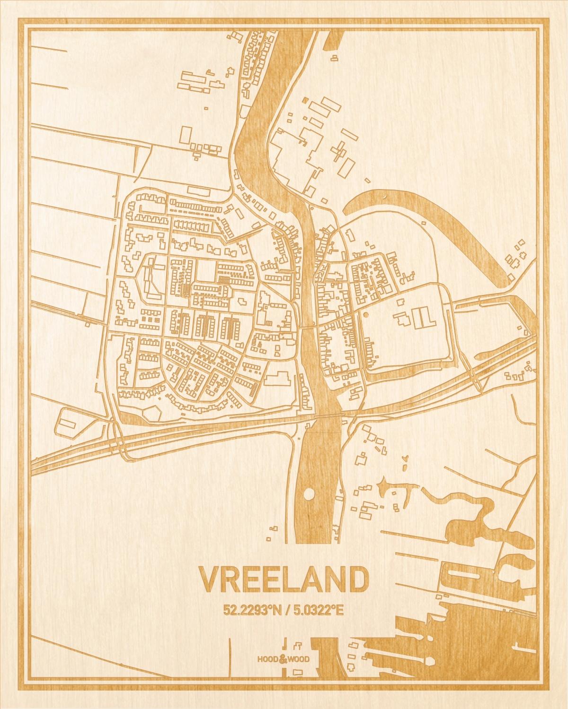 Het wegennet van de plattegrond Vreeland gegraveerd in hout. Het resultaat is een prachtige houten kaart van een van de beste plekken uit Utrecht voor aan je muur als decoratie.