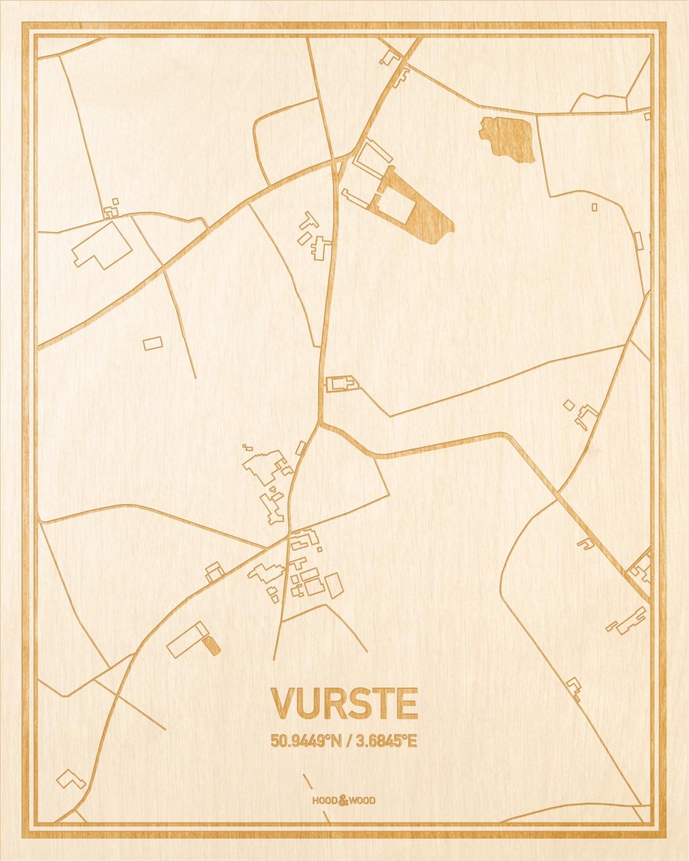 Het wegennet van de plattegrond Vurste gegraveerd in hout. Het resultaat is een prachtige houten kaart van een van de mooiste plekken uit Oost-Vlaanderen  voor aan je muur als decoratie.