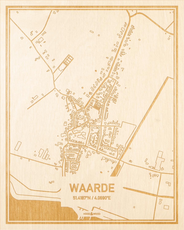 Het wegennet van de plattegrond Waarde gegraveerd in hout. Het resultaat is een prachtige houten kaart van een van de mooiste plekken uit Zeeland voor aan je muur als decoratie.