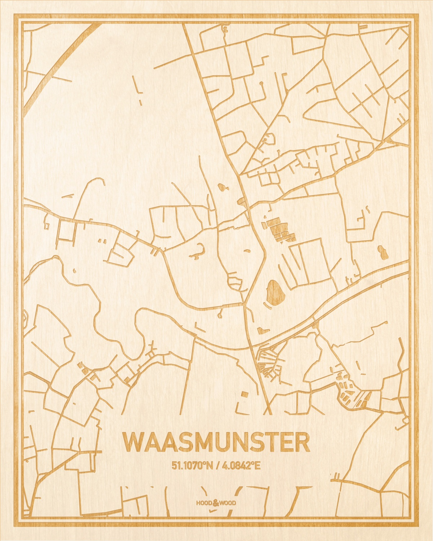 Het wegennet van de plattegrond Waasmunster gegraveerd in hout. Het resultaat is een prachtige houten kaart van een van de charmantse plekken uit Oost-Vlaanderen  voor aan je muur als decoratie.