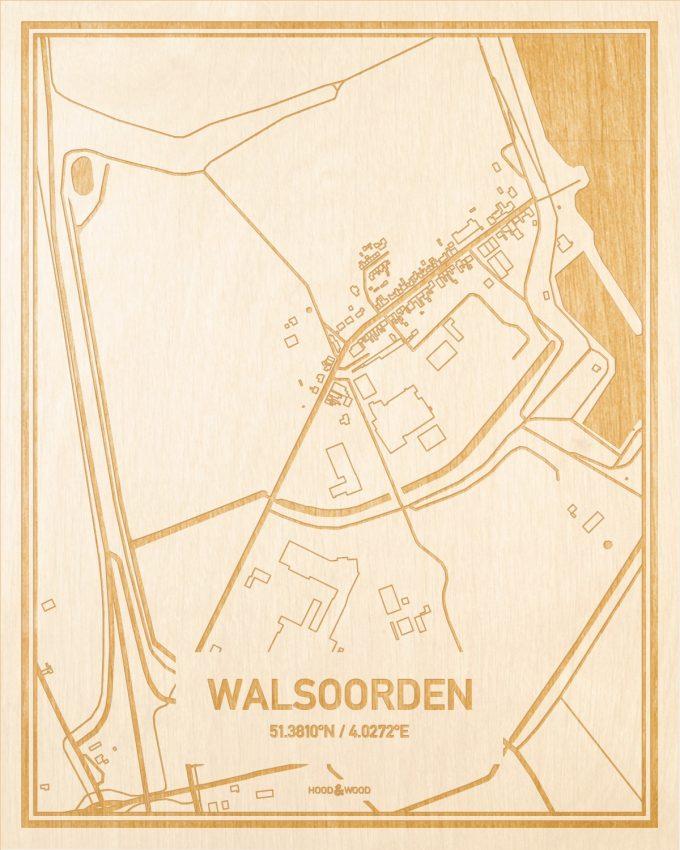 Het wegennet van de plattegrond Walsoorden gegraveerd in hout. Het resultaat is een prachtige houten kaart van een van de mooiste plekken uit Zeeland voor aan je muur als decoratie.