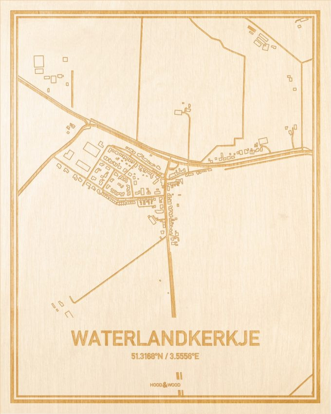 Het wegennet van de plattegrond Waterlandkerkje gegraveerd in hout. Het resultaat is een prachtige houten kaart van een van de leukste plekken uit Zeeland voor aan je muur als decoratie.
