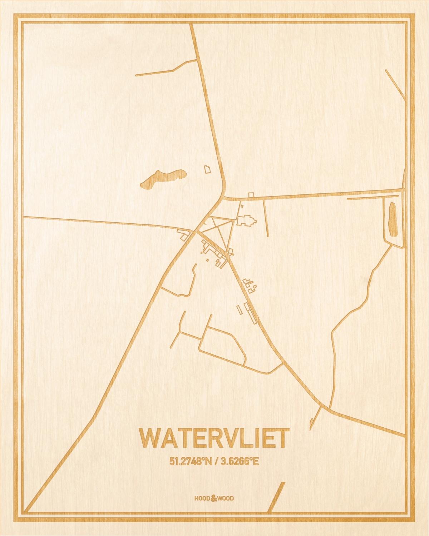 Het wegennet van de plattegrond Watervliet gegraveerd in hout. Het resultaat is een prachtige houten kaart van een van de charmantse plekken uit Oost-Vlaanderen  voor aan je muur als decoratie.