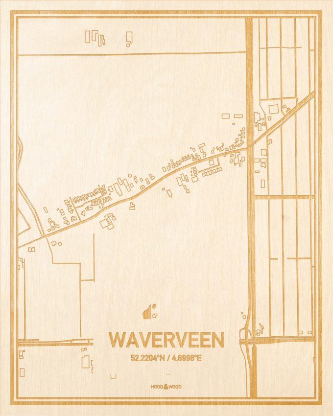 Het wegennet van de plattegrond Waverveen gegraveerd in hout. Het resultaat is een prachtige houten kaart van een van de charmantse plekken uit Utrecht voor aan je muur als decoratie.