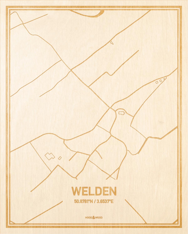 Het wegennet van de plattegrond Welden gegraveerd in hout. Het resultaat is een prachtige houten kaart van een van de beste plekken uit Oost-Vlaanderen  voor aan je muur als decoratie.