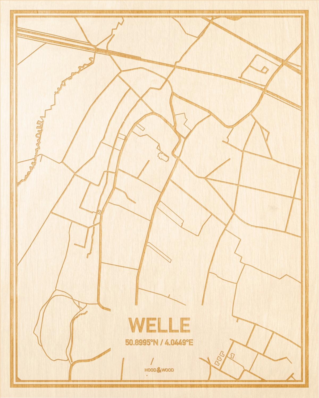 Het wegennet van de plattegrond Welle gegraveerd in hout. Het resultaat is een prachtige houten kaart van een van de leukste plekken uit Oost-Vlaanderen  voor aan je muur als decoratie.