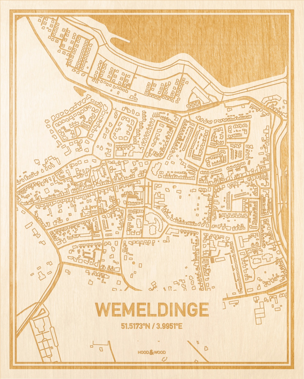 Het wegennet van de plattegrond Wemeldinge gegraveerd in hout. Het resultaat is een prachtige houten kaart van een van de leukste plekken uit Zeeland voor aan je muur als decoratie.