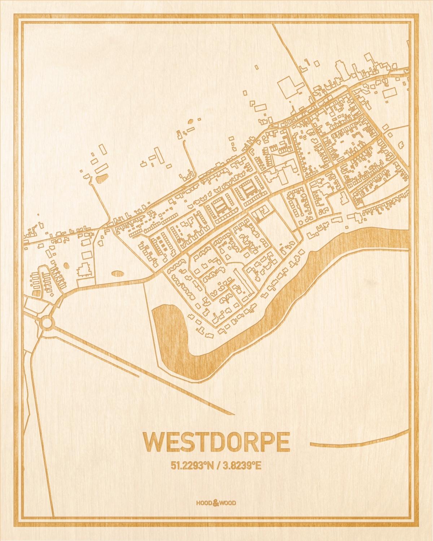 Het wegennet van de plattegrond Westdorpe gegraveerd in hout. Het resultaat is een prachtige houten kaart van een van de leukste plekken uit Zeeland voor aan je muur als decoratie.