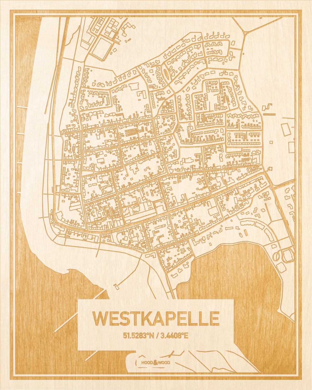 Het wegennet van de plattegrond Westkapelle gegraveerd in hout. Het resultaat is een prachtige houten kaart van een van de mooiste plekken uit Zeeland voor aan je muur als decoratie.