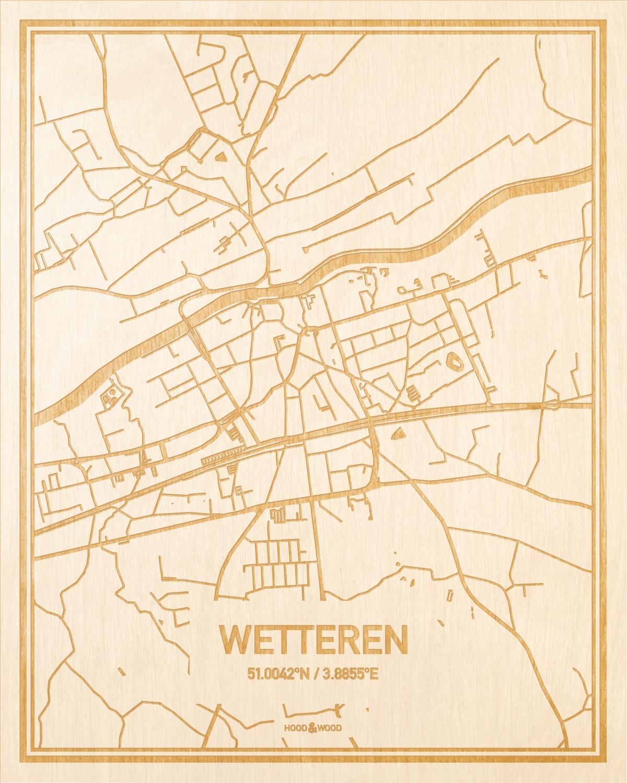 Het wegennet van de plattegrond Wetteren gegraveerd in hout. Het resultaat is een prachtige houten kaart van een van de gezelligste plekken uit Oost-Vlaanderen  voor aan je muur als decoratie.