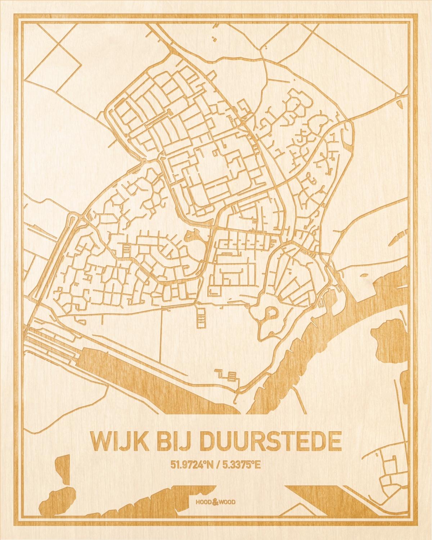 Het wegennet van de plattegrond Wijk bij Duurstede gegraveerd in hout. Het resultaat is een prachtige houten kaart van een van de beste plekken uit Utrecht voor aan je muur als decoratie.