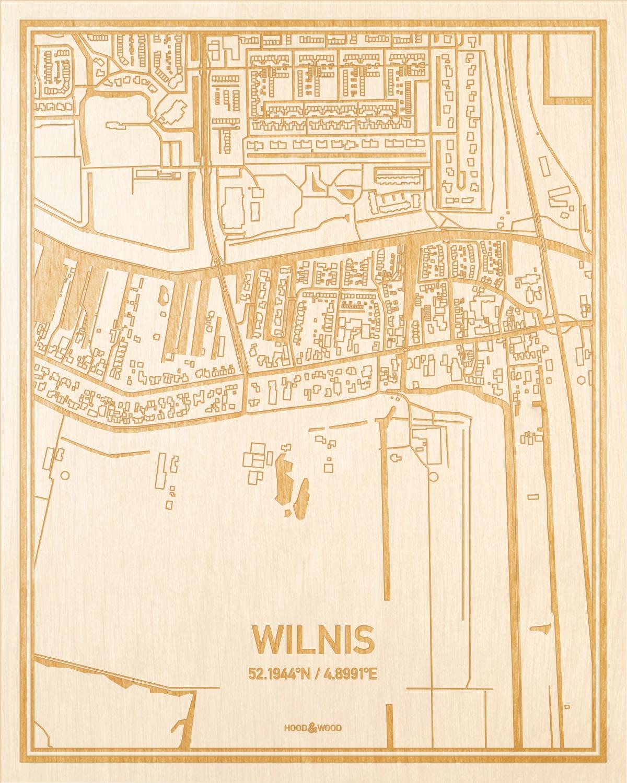 Het wegennet van de plattegrond Wilnis gegraveerd in hout. Het resultaat is een prachtige houten kaart van een van de beste plekken uit Utrecht voor aan je muur als decoratie.