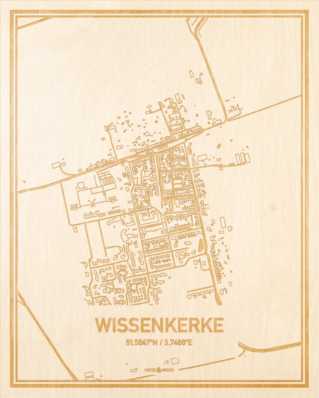 Het wegennet van de plattegrond Wissenkerke gegraveerd in hout. Het resultaat is een prachtige houten kaart van een van de gezelligste plekken uit Zeeland voor aan je muur als decoratie.