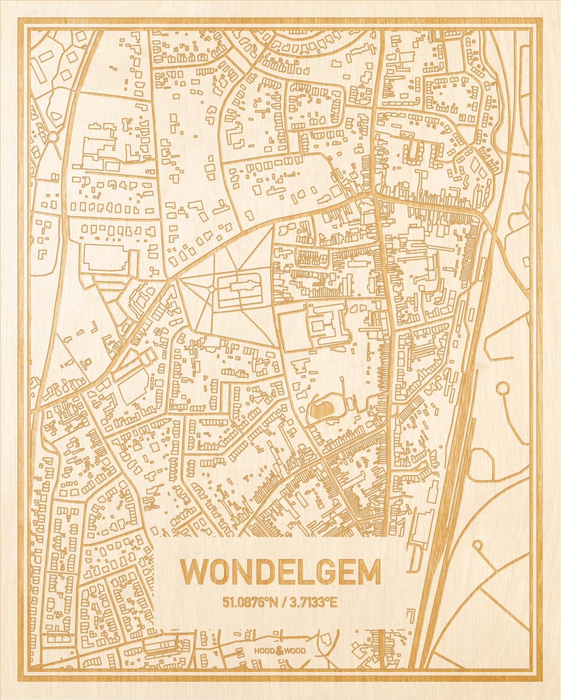 Het wegennet van de plattegrond Wondelgem gegraveerd in hout. Het resultaat is een prachtige houten kaart van een van de mooiste plekken uit Oost-Vlaanderen  voor aan je muur als decoratie.