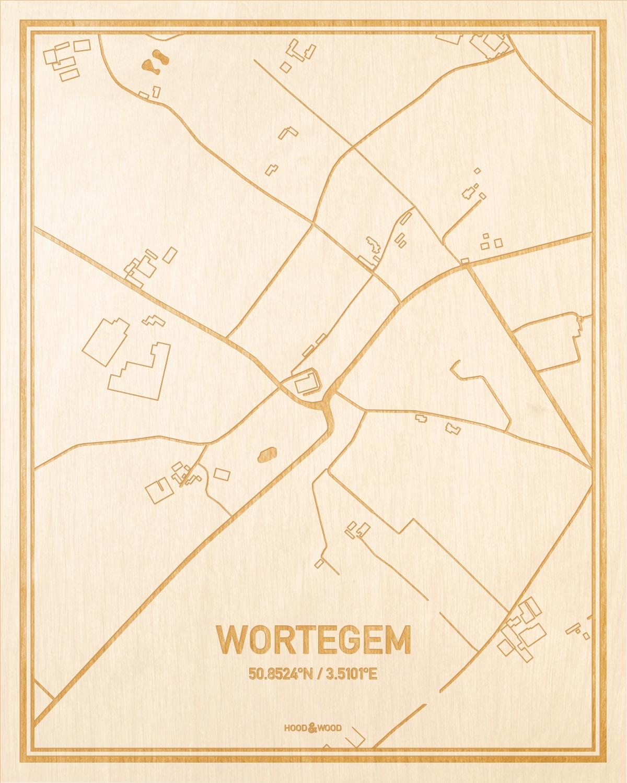 Het wegennet van de plattegrond Wortegem gegraveerd in hout. Het resultaat is een prachtige houten kaart van een van de leukste plekken uit Oost-Vlaanderen  voor aan je muur als decoratie.