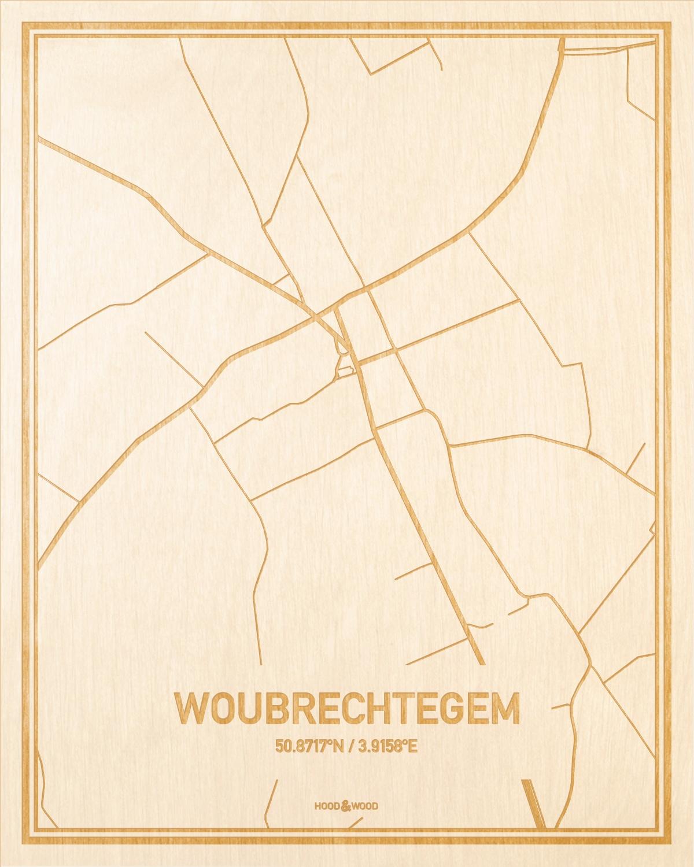 Het wegennet van de plattegrond Woubrechtegem gegraveerd in hout. Het resultaat is een prachtige houten kaart van een van de charmantse plekken uit Oost-Vlaanderen  voor aan je muur als decoratie.