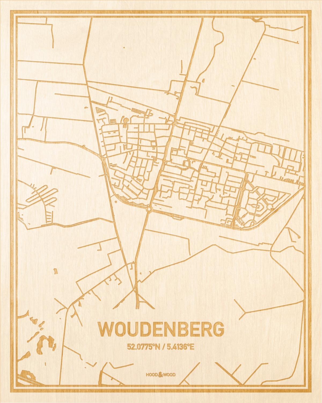 Het wegennet van de plattegrond Woudenberg gegraveerd in hout. Het resultaat is een prachtige houten kaart van een van de leukste plekken uit Utrecht voor aan je muur als decoratie.