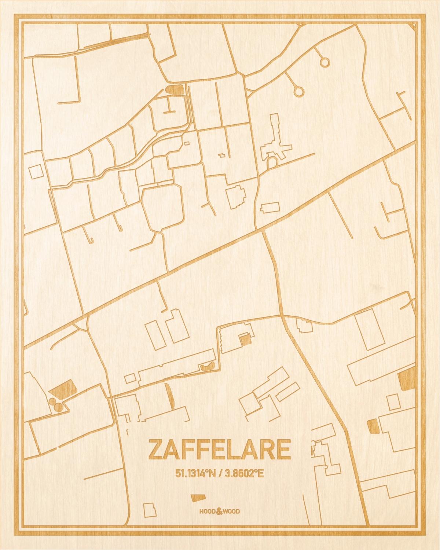 Het wegennet van de plattegrond Zaffelare gegraveerd in hout. Het resultaat is een prachtige houten kaart van een van de mooiste plekken uit Oost-Vlaanderen  voor aan je muur als decoratie.