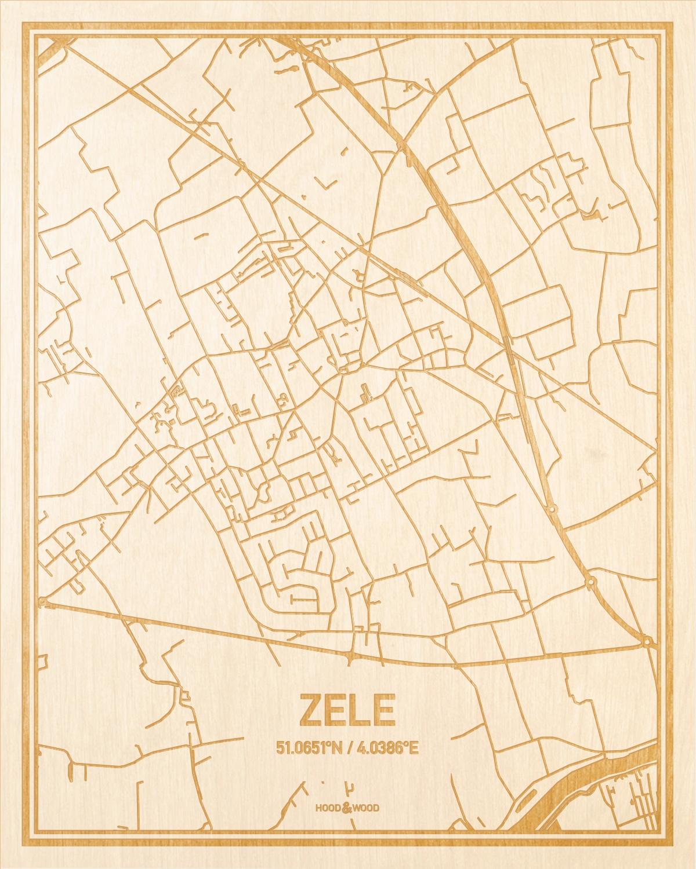 Het wegennet van de plattegrond Zele gegraveerd in hout. Het resultaat is een prachtige houten kaart van een van de gezelligste plekken uit Oost-Vlaanderen  voor aan je muur als decoratie.