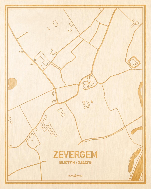 Het wegennet van de plattegrond Zevergem gegraveerd in hout. Het resultaat is een prachtige houten kaart van een van de mooiste plekken uit Oost-Vlaanderen  voor aan je muur als decoratie.