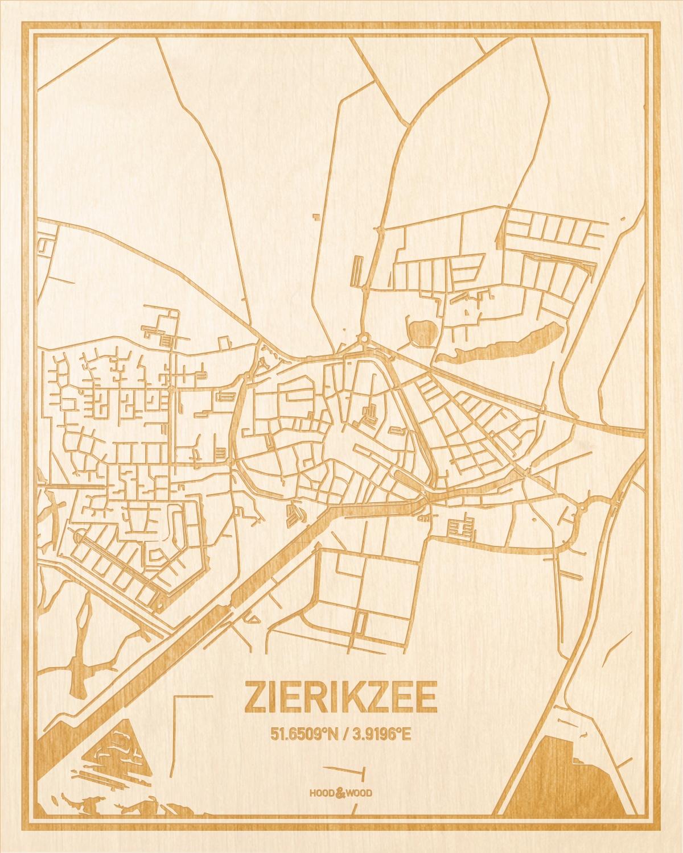 Het wegennet van de plattegrond Zierikzee gegraveerd in hout. Het resultaat is een prachtige houten kaart van een van de leukste plekken uit Zeeland voor aan je muur als decoratie.