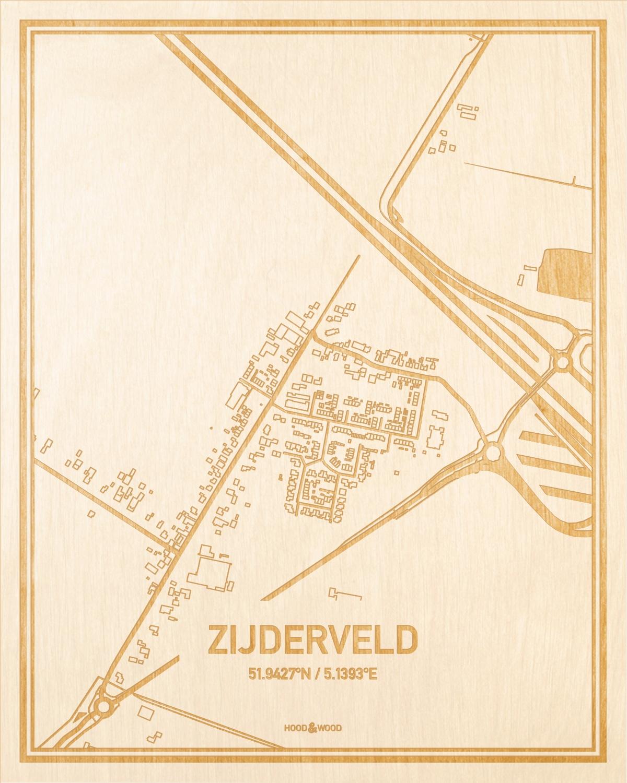 Het wegennet van de plattegrond Zijderveld gegraveerd in hout. Het resultaat is een prachtige houten kaart van een van de gezelligste plekken uit Utrecht voor aan je muur als decoratie.