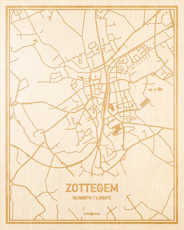 Het wegennet van de plattegrond Zottegem gegraveerd in hout. Het resultaat is een prachtige houten kaart van een van de beste plekken uit Oost-Vlaanderen  voor aan je muur als decoratie.