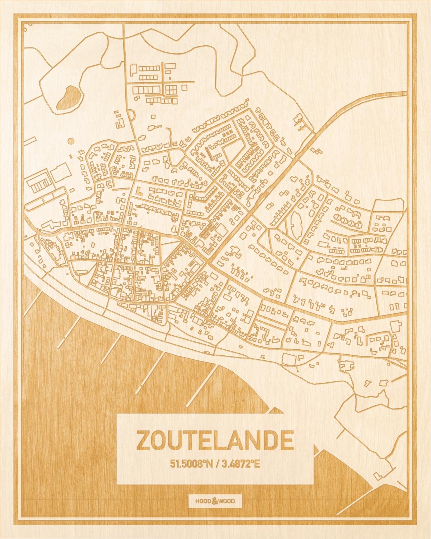 Het wegennet van de plattegrond Zoutelande gegraveerd in hout. Het resultaat is een prachtige houten kaart van een van de charmantse plekken uit Zeeland voor aan je muur als decoratie.