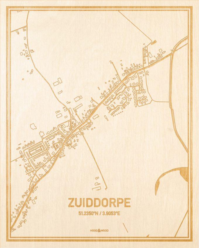 Het wegennet van de plattegrond Zuiddorpe gegraveerd in hout. Het resultaat is een prachtige houten kaart van een van de gezelligste plekken uit Zeeland voor aan je muur als decoratie.