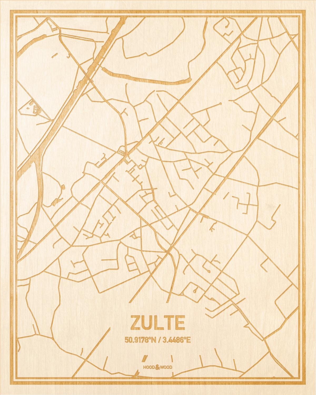 Het wegennet van de plattegrond Zulte gegraveerd in hout. Het resultaat is een prachtige houten kaart van een van de leukste plekken uit Oost-Vlaanderen  voor aan je muur als decoratie.